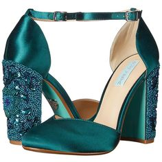 Blue by Betsey Johnson Sybil (Emerald) High Heels ($139) ❤ liked on Polyvore featuring shoes, sandals, chunky heel sandals, betsey johnson shoes, wrap shoes, high heel shoes and thick heel sandals