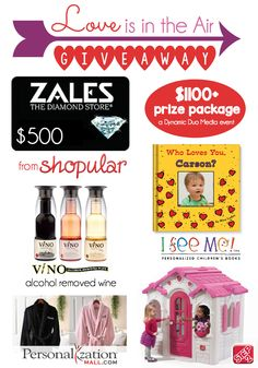 HUGE Valentine's Day Giveaway valued at over $1100 from Shopular, I See Me!, Step 2, V/NO, and Personalization Mall!