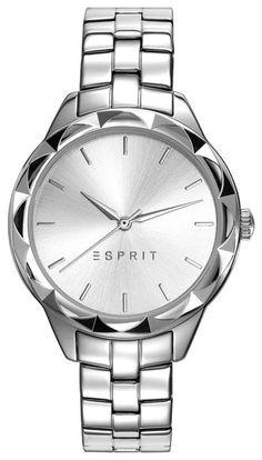 Esprit Time Dameshorloge Classic ES109252001.  Elegant model uit de trendy Esprit collectie. Zilverkleurig dameshorloge met klassieke uitstraling. DE kast heeft een bijzondere rand, supertrendy. De witte wijzerplaat is voorzien van zilverkleurige index en wijzers. De band is gemaakt van zilverkleurig, glanzend staal en is voorzien van een vouwsluiting met drukker. Mooi, klassiek en elegant horloge.
