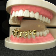 Custom Fit Gold Plated Hip Hop Teeth Drip Grillz Caps Lower Bottom Grill LX for sale online Fang Grillz, Girl Grillz, Rose Gold Plates, Silver Plate, Halloween Teeth, Halloween Party, Bottom Grillz, Grills Teeth, Gold Teeth