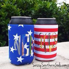 Stars & Stripes Koozie Set on www.SassySouthernGals.com - Monogrammed Gifts & Accessories