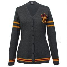Gryffindor House Crest Juniors Cardigan Sweater This Harry Potter cardigan sweater looks just like the Gryffindor ones worn by Harry, Hermione and Ron!
