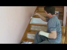 Refinish & Paint Hardwood Stairs that were Carpeted, Stained, Varnished (Part 2) Zinsser bin primer    In this video, I start off by demonstrating how I fill in the Staple holes from the removed carpet. I use my 1 inch flexible blade to skim over the already dimpled or concave holes and sand flush.  Like me on Facebook : http://www.facebook.com/russolinatzpaintingllc    My Website: http://www.russolinatzpainting.com/    Follow Me on Twitter! https://twitter.com/russolinatz