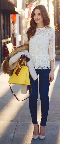 Favorite new item: this lace top! Hands down!  Wearing it with jeans and heels.                                                                             Source