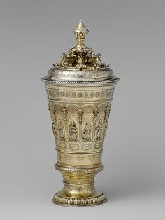 "1723 Austrian Cup with cover and Hebrew inscription at the Metropolitan Museum of Art, New York - From the curators' comments: ""The Hebrew inscriptions and the representations of the patriarch Jacob's twelve sons on this cup are designed to form the name of the cup's owner, Issacher ben Juda Halevi, whose German name was Behrend Lehmann (1661–1730). Lehmann was among the most prominent court officials of his time..."""