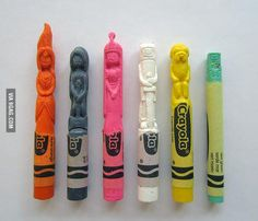 Adventure Time crayon carvings.