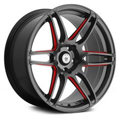 KONIG® - DECEPTION Matte Black with Red Ball Cut Machined Spokes