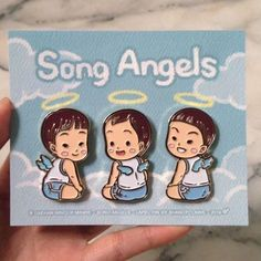 "Just got ""Song Angels"" #lapelpin sample & They are... Glowing!!! ✨"