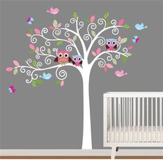 Children Wall Decal Pattern Leaf Wall Art Tree by NurseryWallArt