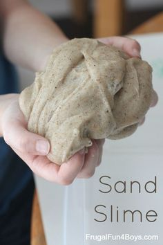 How to Make Sand Slime - 3 ingredients. This stuff feels so cool! Fun for playing with desert animals or sea shells.