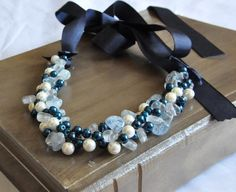 Nautical Beach Weddings Pearl and Glass Necklace    Trendy bridesmaids necklace