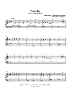 Yesterday by The Beatles Piano Sheet Music | Rookie Level