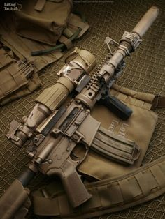 suppressed rifle by LaRue Tactical Military Weapons, Weapons Guns, Guns And Ammo, Military Life, Military Tactics, M4a1 Rifle, Assault Rifle, Assault Weapon, M4 Carbine