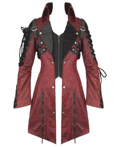 806db4e2abc Punk Rave Poison Womens Jacket - Red Gothic Dieselpunk Steampunk Coat With  Black Faux Leather