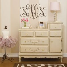 Changing table/dresser can be dressed up as baby gets older
