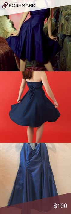 Heartbreaker Fashion Midnight Blue Retro Dress This absolutely adorable retro dress from Heartbreaker Fashion is made from a high quality midnight blue shantung, and features a full swing skirt! Back of dress's zipper has a small tear but can be easily repaired by a seamstress. Wore only once to my Brother's Wedding. heartbreaker fashion Dresses Midi