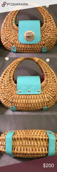 Kate Spade wicker and turquoise leather purse Perfect Summer staple. Kate Spade turquoise leather & wicker purse. This is from roughly 2003/2004. Incredible condition. The bottom is pictured and hardly any wear. It wasn't carried very much- maybe a handful of times. No staining or any marks on the inside fabric. Older spin lock shows some wear. The handle shows minimal wear. This comes with the care card, which is in perfect condition. Amazing, timeless piece. Even I am on the fence about…