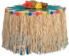 """Natural Raffia Table Skirt with Flowers 