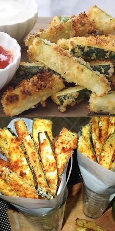 Skip the potatoes and make these crispy, golden and insanely delicious Panko-Parmesan Crusted Zucchini Fries for dinner tonight. Zucchini Pommes, Zucchini Fries, Zucchini Onion Pie Recipe, Sliced Zucchini Recipes, Zucchini Gratin, Squash Fries, Healthy Zucchini, Mexican Breakfast Recipes, Mexican Food Recipes