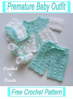 Sweet premature baby outfit, crochet this free baby crochet pattern for special care baby units or it will fit a 16 inch in length doll. Go to crochetncreate to get the pattern. #crochet #babycrochetpattern #dollscrochet #freecrochetpatterns #freebabycrochetpattern Knitting Dolls Clothes, Baby Doll Clothes, Crochet Doll Clothes, Doll Clothes Patterns, Crochet Baby Cardigan Free Pattern, Baby Sweater Patterns, Baby Knitting Patterns, Free Knitting, Baby Pullover Muster