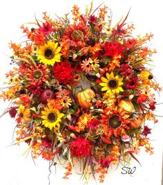 Fall Wreath Thanksgiving Wreath-Pumpkin-Holiday by SeasonalWreaths