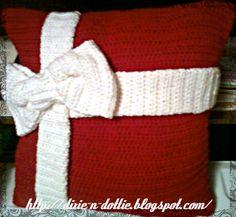 Crochet christmas Pillow---Love!!!!! Pattern at http://www.allfreecrochet.com/Christmas-Crochet/Presents-Crochet-Pillows