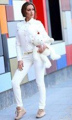 Pantaloni Enjoy Ivory- www. White Jeans, Ivory, My Style, Casual, Pants, Collection, Flower, Girls, Fashion