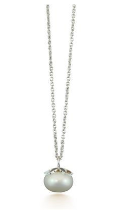Pearl pendant and necklace handmade in sterling silver