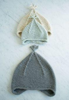 Garter Ear Flap Hat free knitting pattern from The Purl Bee Purl Bee, Knitting For Kids, Free Knitting, Knitting Machine, Knit Or Crochet, Crochet Hats, Kids Crochet, Crochet Beanie, Crochet Bikini