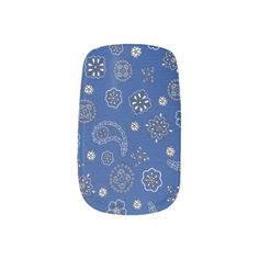 Blue Bandana Pattern Minx Nails Nail Stickers