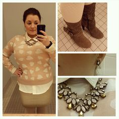 #ChubbyChique 12-1-2014 #ootd Blush hearts sweater from #AnnTaylorLoft #LoveLoft , sand long sleeve blouse by Premise Studio via #ideel , taupe skirt by Halogen via #NordstromRack , cream sweater tights by #Merona from #Target #TargetStyle , taupe bow boots by Bakers #BakersBabes , blush and gold necklace and Fiona studs by #YourBijouxBoxStyle