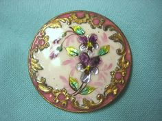 Button : Antique French Enamel Foil Back Silvery Hand Painted Pansy 1 1/4""