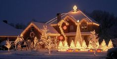 Christmas: Charming Christmas Front Porch Decorating Ideas Bringing The Holiday Feelings, Wonderful Outdoor Christmas Decorating Ideas showing Sparkling Pre Lit Pine Trees and Home Exterior Outlined with String Lights