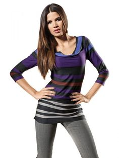 Long line striped 3/4-sleeves shirt
