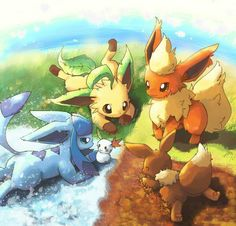 Seasons. Leafeon, Flareon, Eevee, and Glaceon.