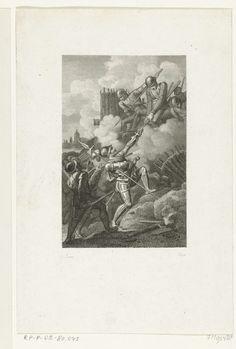 Philippus Velijn | Heldendaad van sir William Russell tijdens het beleg van Zutphen, 1586, Philippus Velijn, 1823 - 1829 | Heldendaad van sir William Russell tijdens het beleg van Zutphen door de troepen van de graaf van Leicester, september en oktober 1586. Russell beklimt een vijandelijke schans langs de spies van een verdediger.