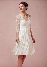 Amazing Tulle & Chiffon & Stretch Charmeuse Satin A-line V-neck Empire Waist Short Wedding Dress