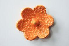 Elegant Ring Holder  Orange Ring Dish  Raised texture Ring