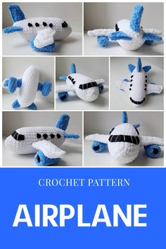 CROCHET AIRPLANE PATTERN - Amigurumi pattern aircraft toy - Crochet stuff plane toy pattern - Crochet gifts for boy - Plush transport