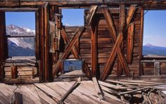 View of Mount Wilson from inside an abandoned home in the spectacular ghost town of Alta, Colorado...just southwest of Telluride.
