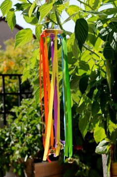 Ribbon wind chime. Idea for making the race metals into wind chime