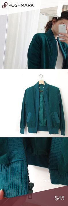 Teal Faux Suede Bomber Beautiful teal ultra Suede bomber jacket, size 6. Gunmetal zipper. Ribbed collar - hemline, sleeve cuffs, and trims the two hip pockets. Fully lined. Urban Outfitters Jackets & Coats