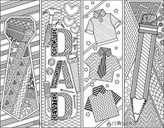 5 Printable Father's Day Coloring Bookmarks plus 3 modified versions; Coloring Doodles with Abstract Designs