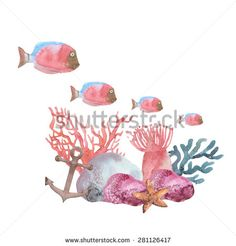 Watercolor seabed. The composition of coral, anchor, fish, sea anemones, seaweed, starfish, squid. - stock photo
