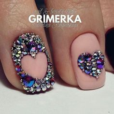 Hot Trendy Nail Art Designs that You Will Love Swarovski Nails, Crystal Nails, Rhinestone Nails, Bling Nails, Bling Bling, Beautiful Nail Designs, Cute Nail Designs, Acrylic Nail Designs, Acrylic Nails