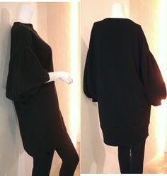 Spring 2016 S/S Black Lightweight French terry Gathered balloon sleeves Drop shoulder Oversized sweatshirt tunic by COCOdake COuture