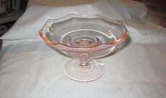 Pink glass compote footed dish  gorgeous