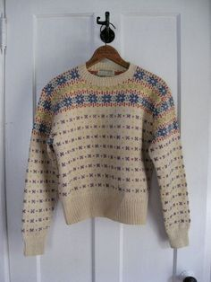 Vintage Nordic Hand Made in Norway Vintage Sweaters, Wool Sweaters, Ski Sweater, Vintage Ski, Snowflake Pattern, Norway, Crocheting, Knit Crochet, Knitting Patterns