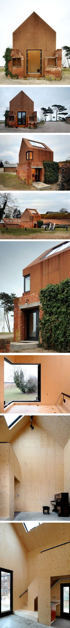 The Dovecote Studio by Haworth Tompkins Architecture in Suffolk, United Kingdom.  An artist's studio inserted into a ruined Victorian dovecote.