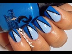 Blue Chevron Nail Art Tutorial; using Precision Nail Lacquer